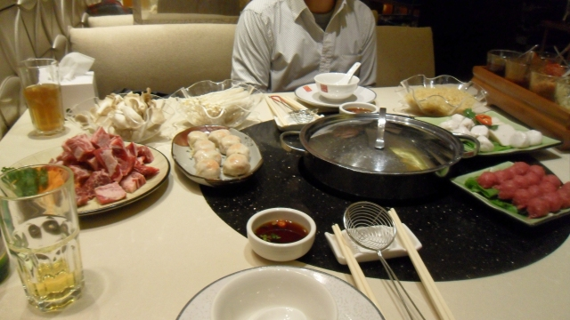 My first ever hot pot! It was delicious and plus it was fun ;) Unfortunately can't remember which restaurant it was as we went to one of Hubs' friends